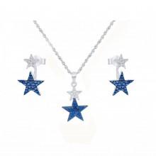 סט תכשיטים מכסף אמיתי - כוכבים כחולים
