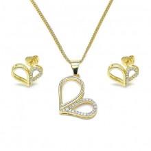 סט תכשיטים לבבות לילי - שרשרת ועגילים