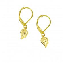 עגילי עלים בציפוי זהב - דגם סתיו