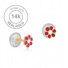 עגילי זהב צמודים קטנים ועדינים עם פרח צבעוני