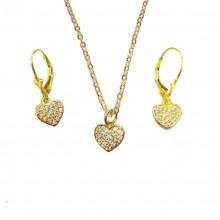 סט תכשיטים לבת מצווה - לבבות לורי זהב