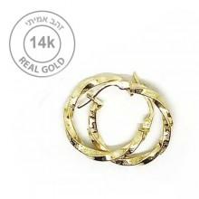 עגילי חישוק זהב מעוצבים