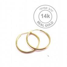 """עגילי חישוק זהב אמיתי 14K - עגילי חישוק קטן עם סוגר צינור בקוטר 14 מ""""מ"""