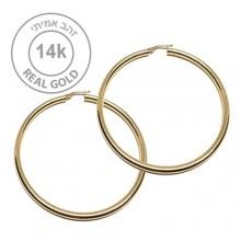 עגילי חישוק זהב ענקיים - חישוקי זהב 14K