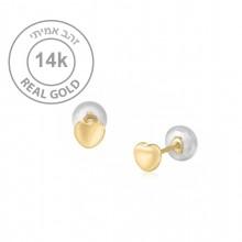 עגיל לבבות זהב צמודים קטנים ועדינים