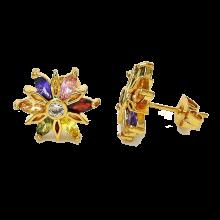 עגילי גולדפילד צמודים משובצים - צורת פרח
