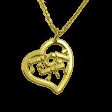 שרשרת אשת חיל זהב - תליון לב עם אשת חיל. שרשרת גולדפילד