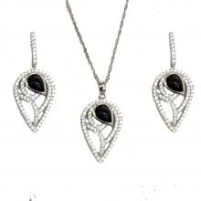 סט תכשיטים  - שרשרת ועגילים מכסף אמיתי בשיבוץ זירקונים