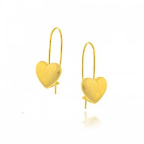 עגילי לב אופנתיים בציפוי זהב