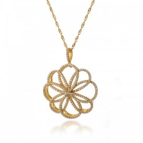 שרשרת פרח יוקרתית בציפוי זהב