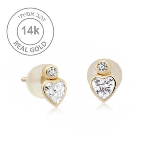 עגילי לב זהב צמודים. עגילים מזהב אמיתי 14K