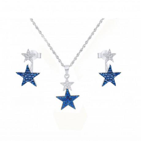 סט תכשיטי כסף - שרשרת ועגילים עם כוכבים כחולים