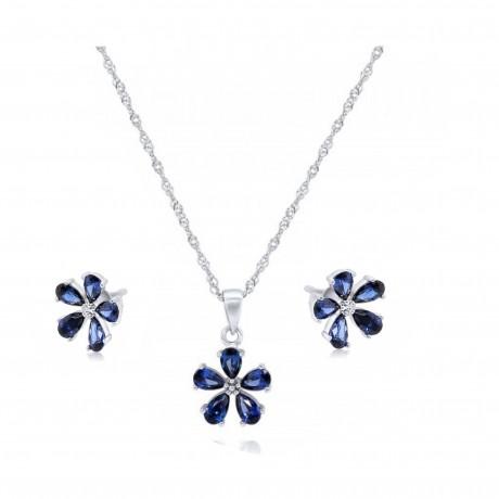 סט שרשרת כסף ועגילים תואמים - סט תכשיטים פרחים כחולים