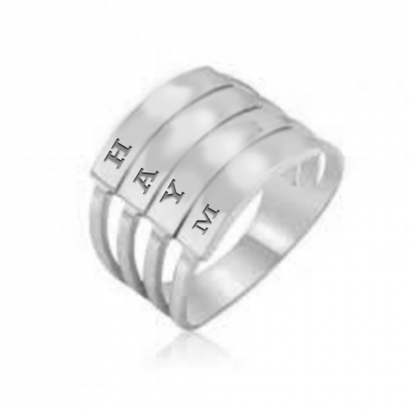 טבעת כסף - טבעת שכבות עם חריטות