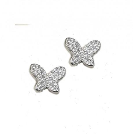 עגילי פרפרים צמודים - עגילים מכסף אמיתי