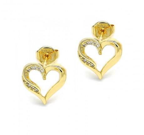 עגילי לב צמודים - עגילים בציפוי זהב