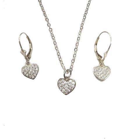 סט תכשיטים לבת מצווה -  שרשרת ועגילים עם ללבות מכסף
