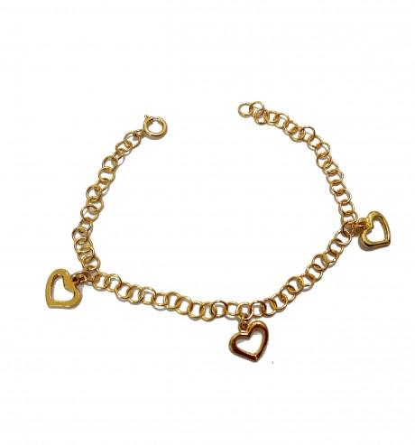 צמיד לבבות גולדפילד - צמיד בציפוי זהב לילדות