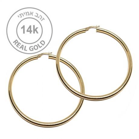 עגילי חישוק זהב ענקיים - עגילי חישוק זהב אמיתי 14K