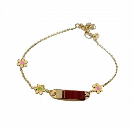 צמיד זהב לתינוקת - צמיד עם חריטת שם בהזמנה אישית - עם פרחים
