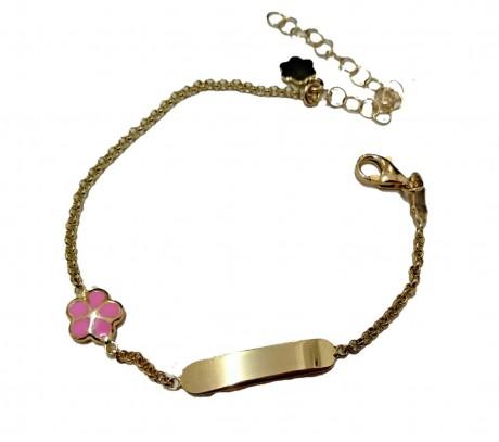צמיד זהב לתינוקת - צמיד עם חריטת שם בהזמנה אישית, עם פרח ורוד