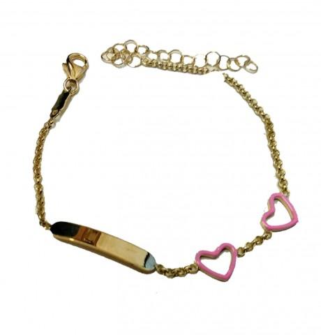צמיד זהב לתינוקת - צמיד עם חריטת שם בהזמנה אישית, עם לבבות
