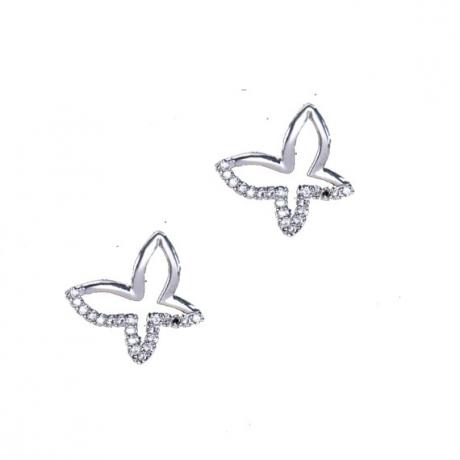 עגילי פרפרים צמודים בשיבוץ זירקונים  נוצצים