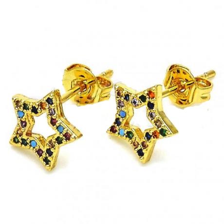 עגילי גולדפילד צמודים - כוכבים צבעוניים
