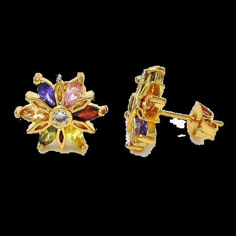 עגילי גולדפילד צמודים - עגילים עם פרח צבעוני