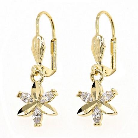 עגילים תלויים עם פרח - עגילים בציפוי זהב