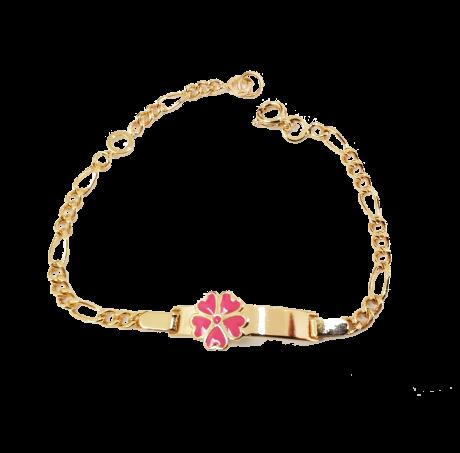 צמיד בייבי - צמיד גולדפילד עם פרח ורוד
