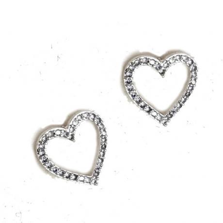 עגילי לבבות צמודים - עגילים מכסף אמיתי