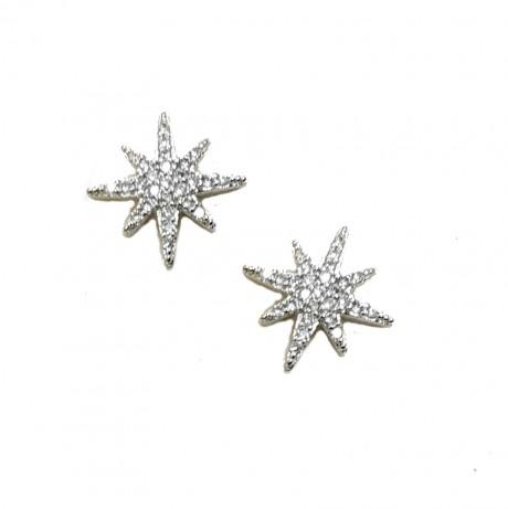 עגילי כוכב הצפון - עגילי כסף צמודים משובצים