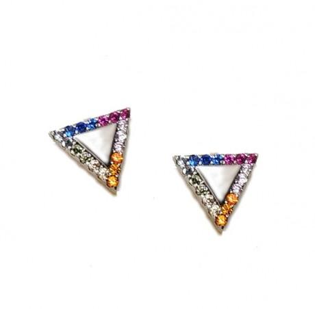 עגילי כסף צמודים - משולשים צבעוניים