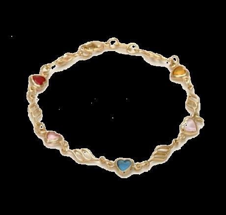 צמיד לבבות - צמיד גולדפילד עם אבנים צבעוניות