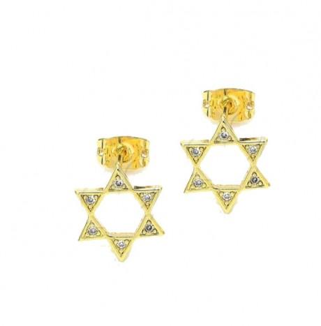 עגילי מגן דוד - עגילים צמודים ציפוי זהב