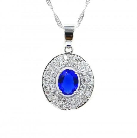 שרשרת עם אבן מרכזית כחולה