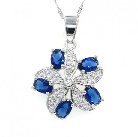 שרשרת עם תליון פרח ואבנים כחולות