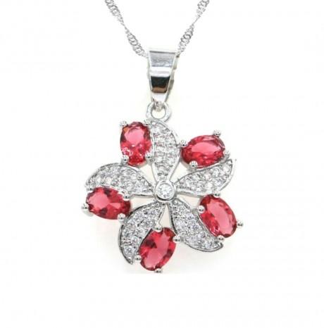 שרשרת תליון פרח עם אבנים אדומות